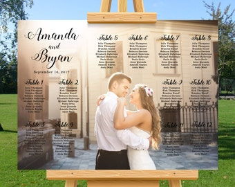 Photo wedding seating chart, modern wedding seating plan, wedding table assignments, personalize wedding photo seating chart