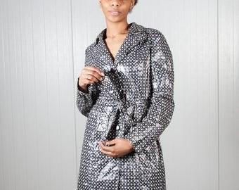 Vintage plastic jacket with waistband / Rock jacket / Ladies plastic jacket / Vintage rain coat / Shiny PVC coat / 90s coat / Size S