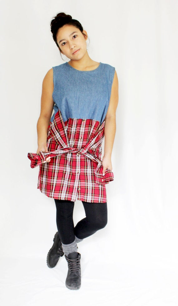 Refashioned Shirt Dress with Waist Tie, Plaid and Denim Grunge Dress, Red and White Plaid, Upcycled Clothing, Eco Conscious Fashion Under 50