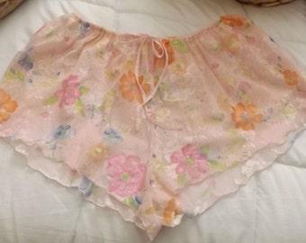 SALE Vintage Pink Floral Sheer Tap Pants Panties Large
