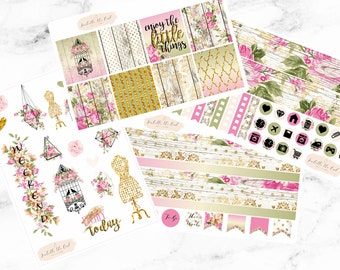 Erin Condren Horizontal Rustic & Rose Weekly Kit Planner Stickers