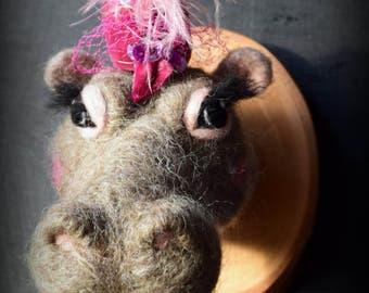 Needle felted hippo