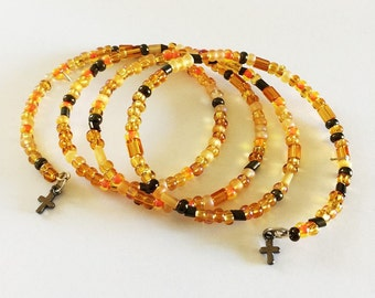 Orange And Brown Glass Bead Memory Wire Bracelet, Handmade Bracelet,Beaded Memory Wire Bracelet,Glass Amber Beads, Brown Glass Beads, Beaded