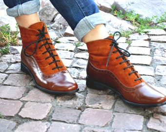 Armada - Womens Fall Boots, Lace-up Leather Boots, Oxford Boots, Leather Ankle Boots, Custom boots, FREE customization!!!