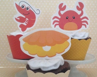 Clambake, Seafood, Clams, Lobster, Crab Party Cupcake Topper Decorations - Set of 10