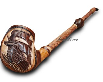 EXTRA LONG Hand Carved Smoking Pipe, 560 mm - 22 in, FREE Gift, Wooden Pipe, Tobacco pipe, Ship pipe, Boat pipe, Vessel pipe