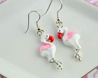 Flamingo earrings - earrings enamel charms - Earrings Long Ear - Drop ear - BO birds - Enameled earrings - Flamigo dangle earrings