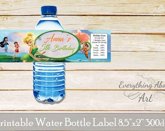 Tinkerbell water bottle label, Tinkerbell birthday party, Fairies birthday party, Tinkerbell and fairies birthday party, Printable wraps