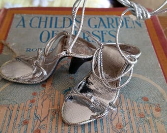 Vintage Style Strappy Metallic Silver Heels for Madame Alexander Cissy and Miss Revlon Dolls