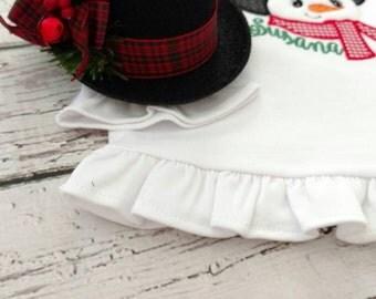 Girls Christmas hat - mini snowman hat - fancy snowman hat - snowman outfit