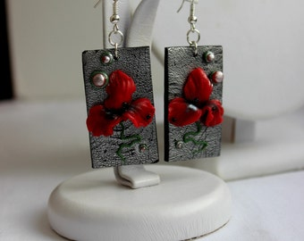 Red Poppy earrings made of polymer clay - Christmas gift for her, perfect holiday jewelry