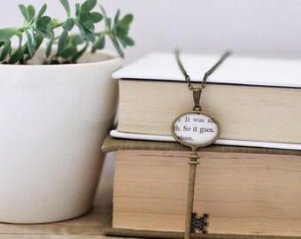 So it goes skeleton key pendant necklace.  Kurt Vonnegut Literary Necklace