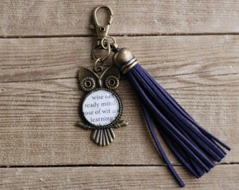Wit and Learning Blue Tassel HP inspired owl zipper pull charm.  Silver or Bronze. Wizard School House colors. Fandom book keychain.