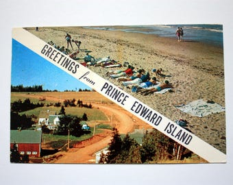 Greetings from Prince Edward Island Postcard 1963 / Greetings Postcard /Vintage Maritimes Postcard /  vintage  beaches Postcard