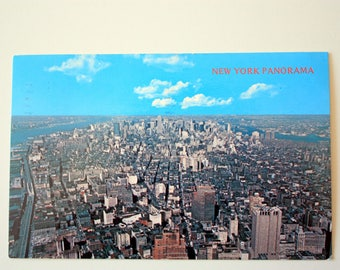 New York Panorama Postcard 1980 / New York City Postcard / vintage New York  City Souvenir