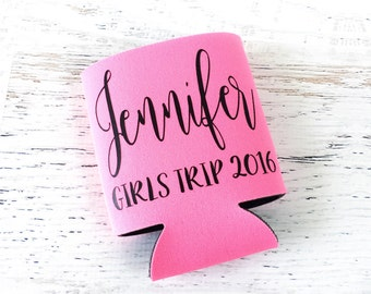 Personalized Girls Trip Can Cooler - Girls Trip Gifts - Girls Weekend Favors - Girls Night Out - Party Favors for Adults - Single or Sets