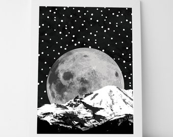 Outta This World Art Print | Nursery Wall Art, Printable Wall Art, Art Print, Moon, Outer Space, To the Moon and Back, Black and White