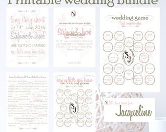 Printable wedding game bundle, wedding mad lib, reception game, printable game, find someone who, invitation, table cards, wedding bingo