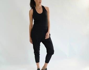 Black Jumpsuit, Women Yoga Jumpsuit, Women Activewear, Summer Jumpsuit, Casual Romper, Sleeveless Jumpsuit, Black Overall, Sport Clothing