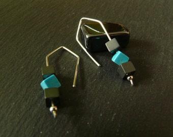 Hematite & Howlite Sterling Silver earrings