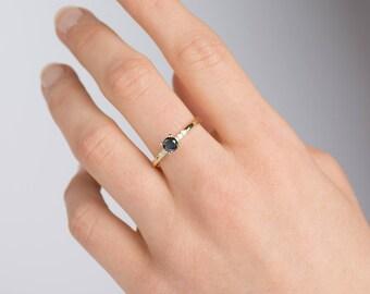 Black Diamond Ring, Dainty Diamond Engagement Ring, 14K Yellow gold Engagement Ring, Modern Engagement Ring, Dainty Ring, Delicate Ring