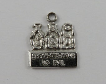 Speak-See-Hear No Evil Three Wise Monkeys Sterling Silver Vintage Charm For Bracelet