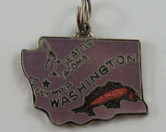 Two Sided Map of Washington State With Purple Enamel & Space Needle Mt.Rainer With Blue Enamel Sterling Silver Vintage Charm For Bracelet