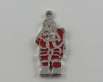 Red Enamel Santa Clause Sterling Silver Vintage Charm For Bracelet