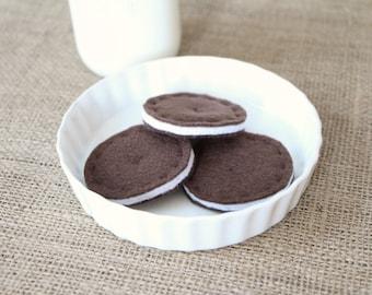 Felt Chocolate Sandwich Cookies/Pretend Play/Oreo Inspired/Tea Party/Play Food