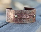 Best Gift Idea Personalized Jewelry for Grandmas Birthday - Personalized Bracelet for Grandma - Copper and Leather Bracelet Cuff - Birthday