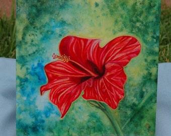 art tile red hibiscis 8x10