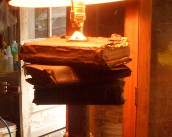 Handmade Vintage Holy Bible Lamp with antique Burlap Shade, 24x12x12