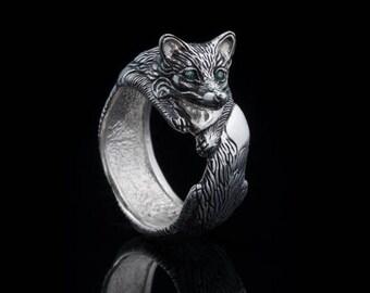 Fox Ring, sterling silver, handmade