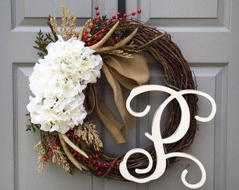 Front Door Wreath / Spring Wreath / Monogram Wreath / Every Day Wreath / Antler Wreath / Wreath for Front Door / Rustic Wreath / Wreaths