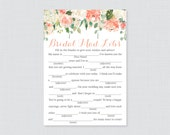 Peach Floral Bridal Shower Mad Libs Game - Printable Peach and Cream Flower Bridal Shower Madlibs - Garden Party Bridal Advice Cards 0028