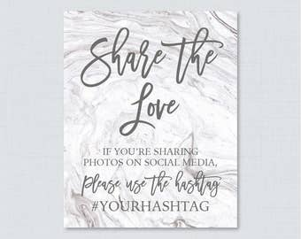 Marble Hashtag Sign Printable - Gray Marble Bridal Shower Social Media Hashtag Sign - Personalized Share the Love Sign, Trendy Modern 0029