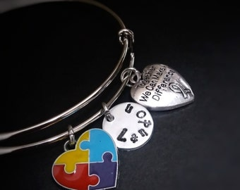 Autism Jewelry, Autism Awareness Bracelet, Autism Mom, Autism Bracelet, Autism Support Gift, Together we can make a difference, Awareness
