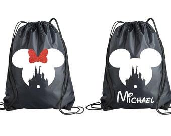 Minnie Mickey Castle Drawstring Bag, Disney World Land Accessory, Disney Trip, Disney Inspired Tote, Disney Backpack