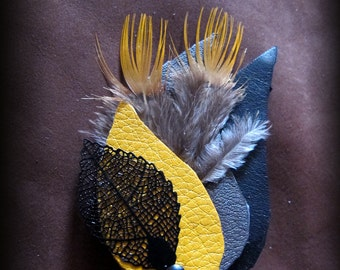 Leather & feather hair Barrette