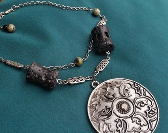 Winter Solstice - Winter solstice necklace petrified lava stone