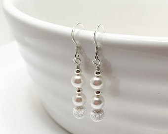 Swarovski Crystal Pearl and Sterling Silver Wedding Earrings Pearl with Silver Bridal Party Jewelry Bridesmaid Gift Mother of the Bride