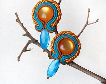 Stud earrings Modern earrings Blue Mustard yellow earrings Bright boho earrings Short dangle earrings Soutache jewelry Summer gift for woman