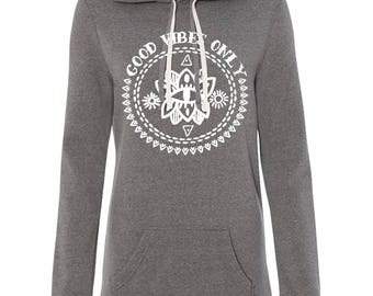 GOOD VIBES ONLY Sweatshirt dress, good vibes, yoga manifest boho tunic sweatshirt, good vibes long sweatshirt, yoga sweatshirt thumbholes,