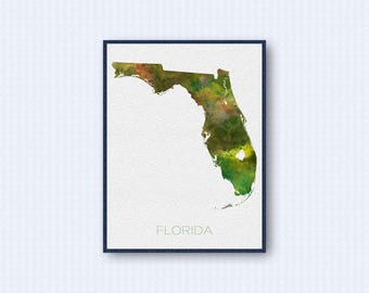 Florida Map Watercolor Poster, United States Map Print, Green Version