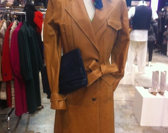 Coat, tranch, mila schon, 80 's clothing, leather