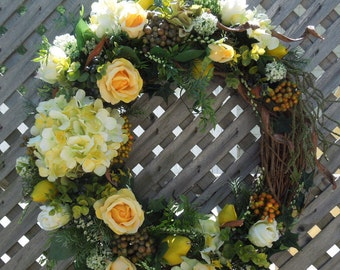 "25"" Spring-Summer Yellow Roses and Hydrangea/Pears Floral Wreath Arrangement !!!"