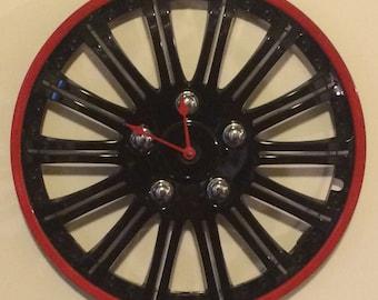 Authentic Automobile Hubcap Clock - Conclocktion