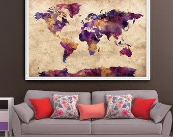 Extra large wall art, World Map extra large art, large world map print, world map poster, large map poster, Home Decor, Wall Art Print (L60)