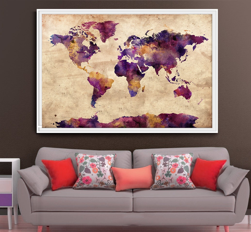 Extra large wall art world map extra large art large world for Extra large wall art