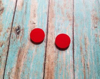 "1/2""  Acrylic Solid Red Earring Blanks - Vinyl Blanks - Acrylic Earring Blanks - Monogrammed Blanks"